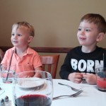 AJ and Evan at dinner