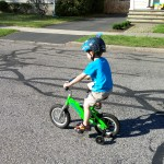 Learning to ride his new bik
