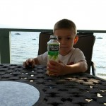 Evan enjoying breakfast on the deck